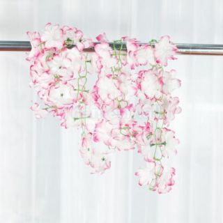 2pcs Artificial Azalea Garland Silk Flower Vine Pink White for Garden Decoration