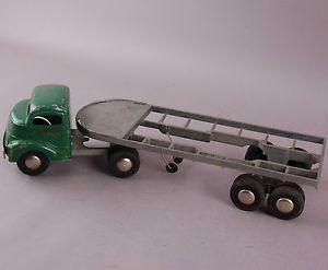 Vintage Smith Miller Smitty Toys Green Flatbed Trailer Hauler Truck 109 1800
