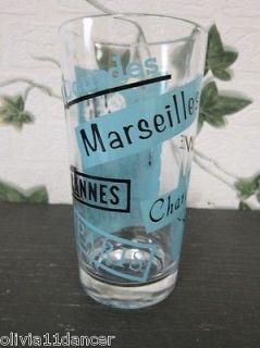 Vtg Mid Century PanAm Airlines Paris France Drinking Glass Tumbler Barware 50s
