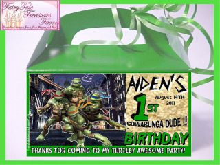 TMNT Turtle Birthday Personalized Goody Loot Box Favor