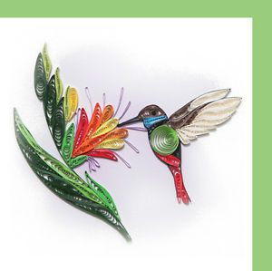 Hancrafted Renaissance Paper Quilling Quilled Greeting Card 6x6 Humming Bird B