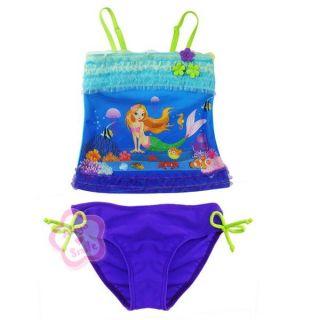 Ariel Mermaid Girl 2pc Tankini Swimsuit Kid Swimming Costume Beachwear 2 7 Years