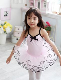 New Girl Party Dancing Leotard Ballet Pink White Tutu Skirt Dress Size 3 8Y
