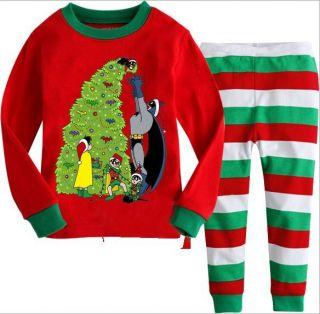 "Baby Kids Boys Girls Suit Christmas Sleepwear ""Christmas Tree"" Pajama Set GIFT2T"