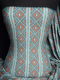 Aztec Print Viscose Cotton Stretch Lycra Fabric Q8