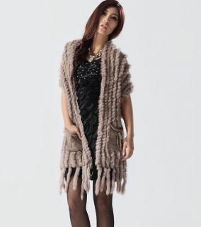 Women Real Rabbit Fur Knitting Shawls Scarves Lady Tops Coats Khaki Wraps