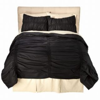 Xhilaration Full Queen Bed Coverlet Coal Black Ruched Comforter Bedspread Cover