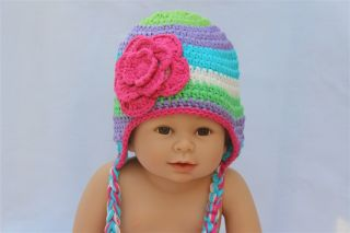 Cute Handmade Baby Child Knit Hat Beanie Colorful Pink Flower Newborn TO3 Year