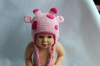 New Handmade Baby Child Crochet Pink Sika Deer Hat Photograph Newborn to 3 Year