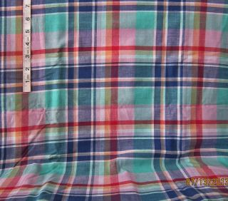 3yds Blue Green Red Plaid Print Cotton Fabric Apparel Sewing Crafts