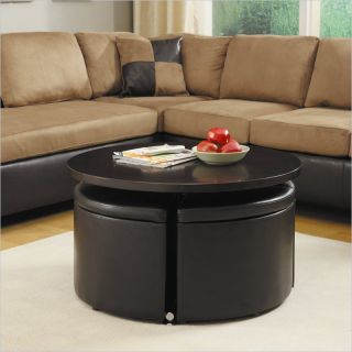 Homelegance Rowley Gas Lift Table w/ 4 Storage Ottomans in Dark Cherry   3217PU