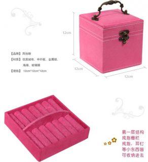 Women's Large Velvet Jewelry Ring Storage Box Dressing Case 3 Layer Free Shipp