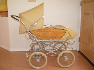 Antique Vintage Wicker and Metal Baby Carriage Stroller Pram Heavy Duty