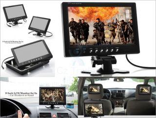 "9"" inch Car Monitor LCD Screen in Car Use Headrest Stand Mount AV in Speakers"