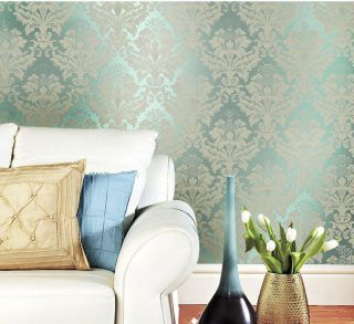 Cyan Army Green Blue Non Woven Damask Wall Paper Textured Wallpaper Living Room