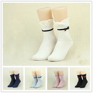 New Fashion Women's Ladies Solid Color Bow Cotton Ankle Socks 5 Colour Choose