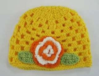 Cute Fashion Crochet Handmade Flower Knit Kufi Beanie Hat Cap Baby Girl Gift New