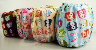 "Cute re Usable Bamboo Baby Diaper Cloth Nappy Bamboo Insert ""4 Owl Patterns"""