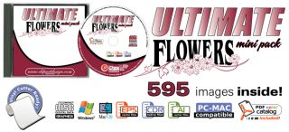Flowers Clipart Vinyl Cutter Plotter Vector Clip Art CD