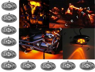 10 Orange Amber LED Chrome Module Motorcycle Chopper Frame Neon Glow Lights Pods