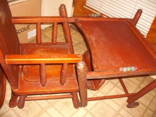 Vintage Baby High Chair Potty Converts to Play Table Stroller Antique