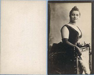 Unidentified Tobacco Card Actress Posing at Chair