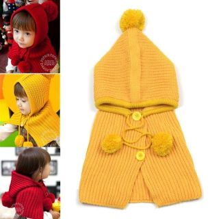 New Warm Cute Kids Toddlers Hooded Cape Scarf Shawl Knitting 2 8 Y H058