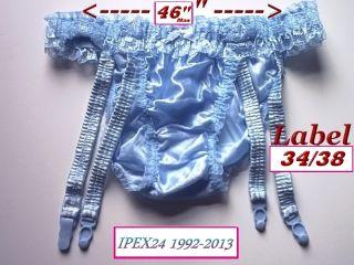 Sissy Girls Baby Blue Retro Silky Nylon String Bikini Garter Suspender Panties