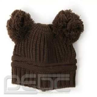 Popular Vogue Korean Baby Boys Girls Cute Lovely Double Ball Wool Knit Hat Cap