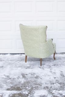 Vtg French Mint Satin Brocade Tufted Wing Back Arm Chair Queen Anne Cabriole