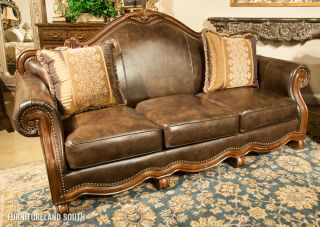 princeton large traditional genuine leather sofa couch loves