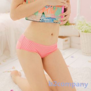 Sexy Women Girl Boxer See Through Knicker Bow Knot Polka Dot Polyester Underwear