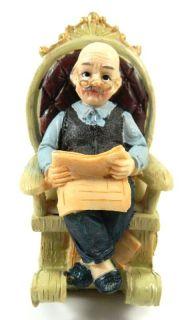 Grandpa Reading on Rocking Chair Resin Figure Figurine Ornament My 2012