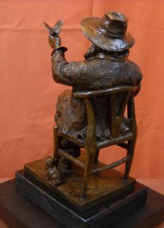 Walt Whitman American Poet Poetry Bronze Sculpture Statue Chair Butterfy Amber