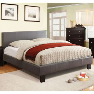 Winn Contemporary Style Gray Finish Leatherette Platform Bed Frame Set