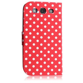 Red Polka Dot Magnetic Flip Case for Samsung Galaxy s III Hard Cover Shell New