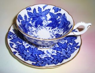 Coalport Cobalt Blue Leaf Motif Tea Cup and Saucer Set