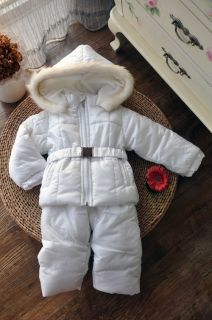 Baby Girl Clothes Winter Pure White Snowsuit Set Snow Jacket Snow Pants
