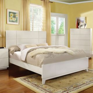 Felica White Finish Contemporary Style Bed Frame Set