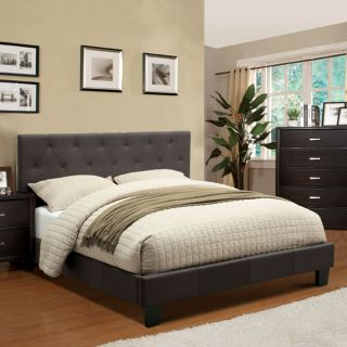 Corbin Modern Style Charcoal Gray Finish Flax Fabric Bed Frame Set