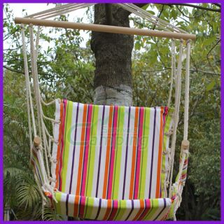 Outdoor Camping Hammock Canvas Wooden Swing Chair Hanging Big Stripes Colorful