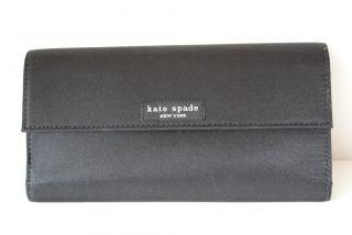 Kate Spade Black Nylon Continental Checkbook Wallet Envelope Tri Fold Clutch