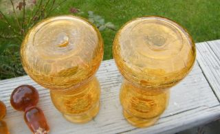2 Vintage Blown Amber Crackle Blenko Old Antique Glass Decanter Bottle Cruet Set