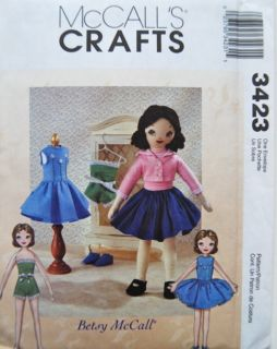 McCall's 3423 Rag Stuffed Doll Pattern Retro Betsy McCall Doll and Clothes