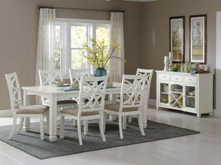Angela 7pcs European Cottage White Formal Dining Room Table Chairs Set Furniture