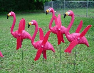 6 Twirling Pink Flamingo Yard Stakes Flocking Lawn Ornaments Decorations