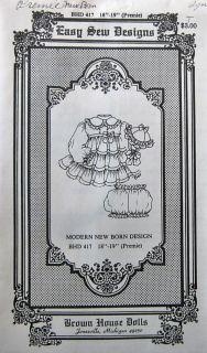 "Brown House Dolls Easy Sew Designs BHD 417 18 19"" Newborn Preemie Dress Patterns"