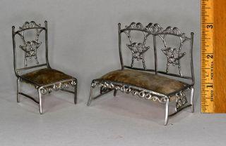 Doll House Furniture Antique Soft Metal Miniature Sofa Chair German Parlor