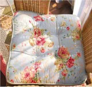 ... Shabby Chic Blue Floral Soft Chair Pad W Filling ...