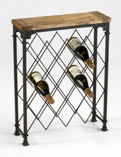 Reclaimed Wood Oxidized Iron Wine Bottle Rack Console Table Industrial